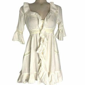 FREE PEOPLE Women's Cream Button Front Sheer Ruffled Lace Prairie Dress Size 4